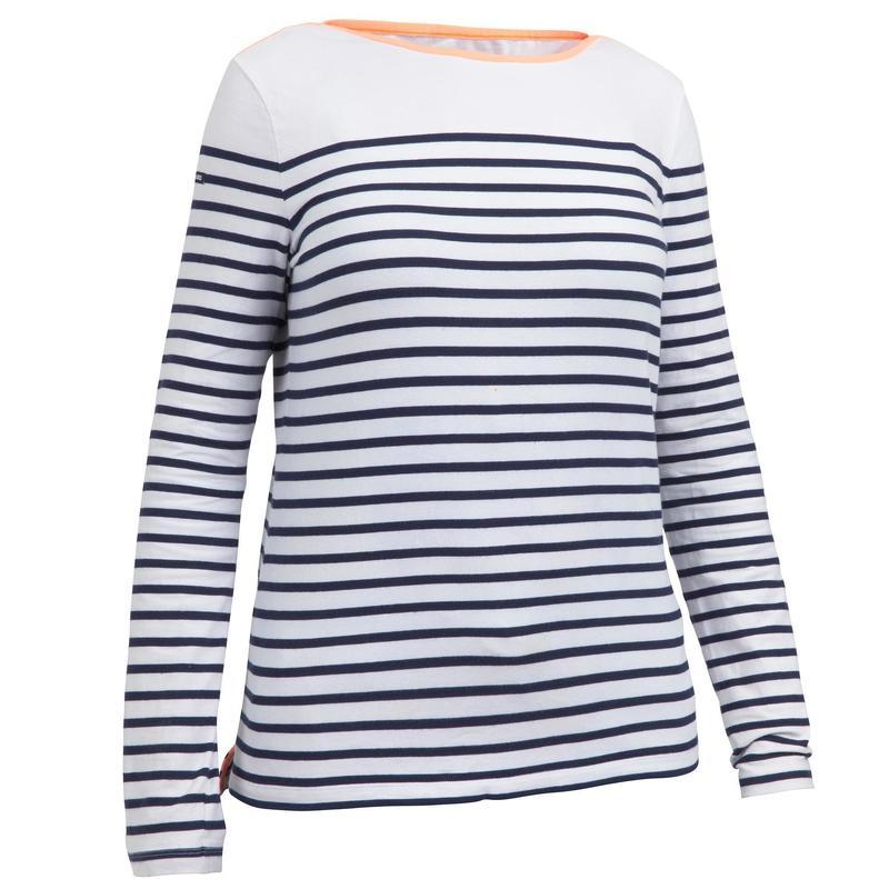 14b2d5282f9ba T-Shirt Manches longues de voile femme SAILING 100 Blanc bleu | tribordvoile