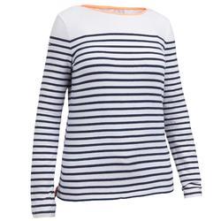 Camiseta Manga Larga Vela Tribord Sailing 100 Rallas Algodón Mujer Azul Marino
