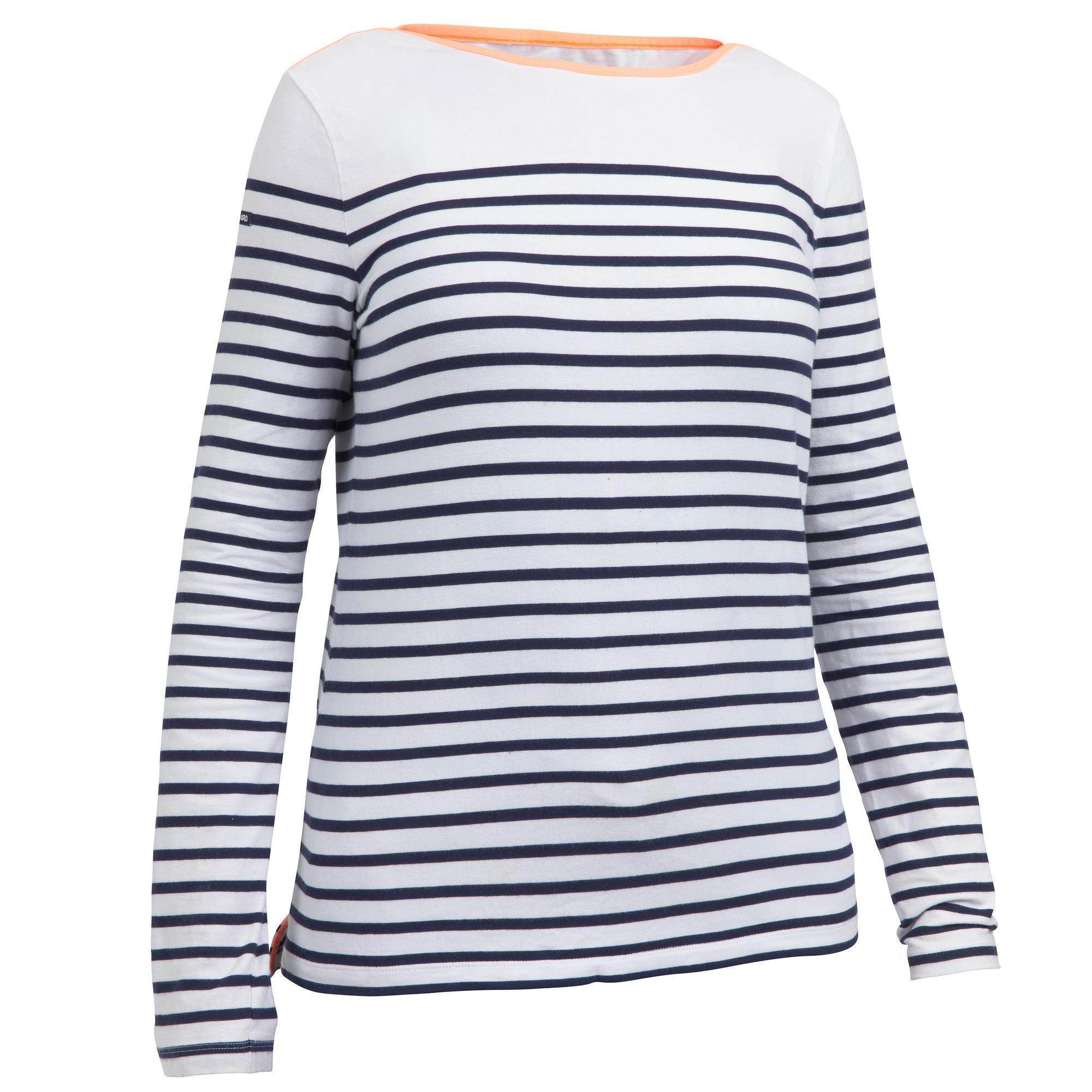 Tribord Zeilshirt met lange mouwen Sailing 100 voor dames wit blauw