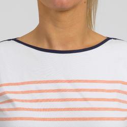T-Shirt Manches courtes de voile femme SAILING 100 Blanc corail