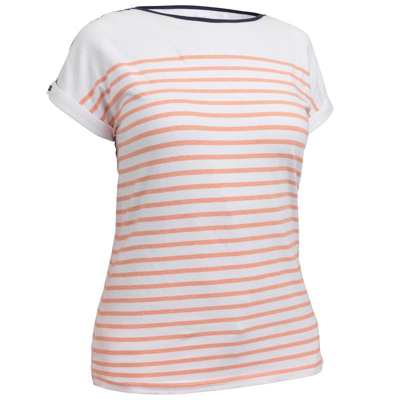 T-Shirt Manches courtes de voile femme SAILING 100 Blanc corail ... 9b74ac84126
