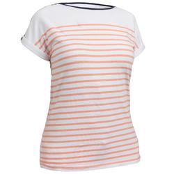 Dames T-shirt met korte mouwen voor zeilen Sailing 100 wit koraal