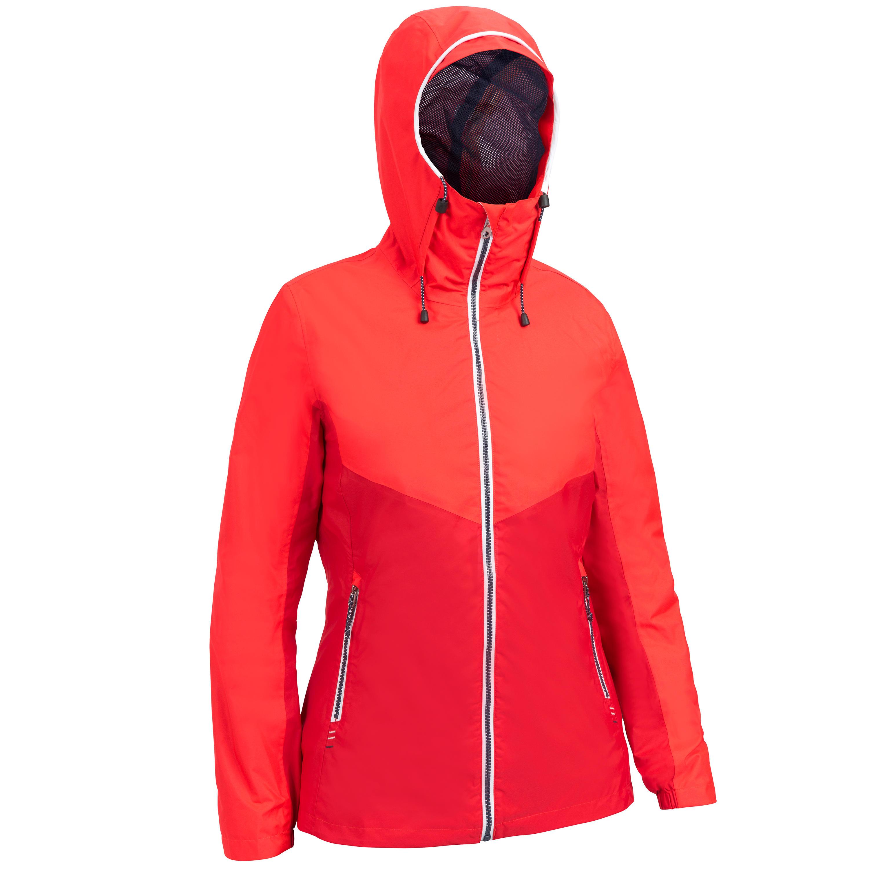 Veste imperméable de voile femme sailing 100 rouge tribord