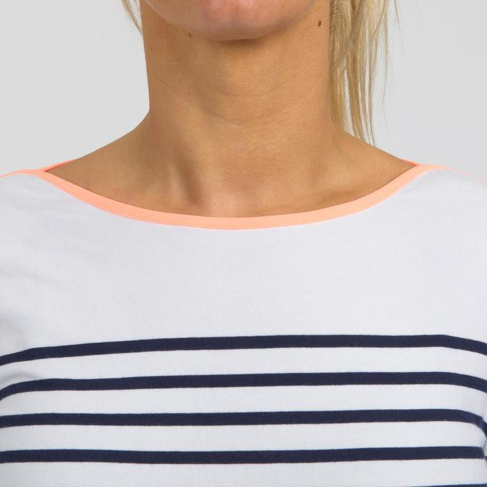 Zeilshirt met lange mouwen Sailing 100 voor dames wit blauw