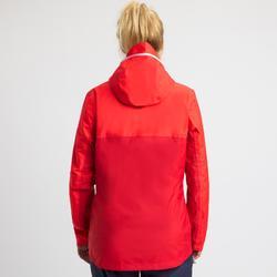 Chaqueta Cortaviento Impermeable Barco Vela Tribord 100 Mujer Rojo Capucha