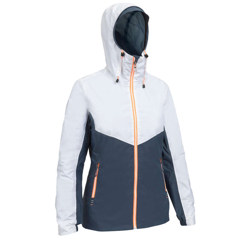 CRUISING RAINY WEATHER WOMAN CLOTHES Sailing - Sailing100WomenJacketGreyWhite TRIBORD - Sailing Clothing