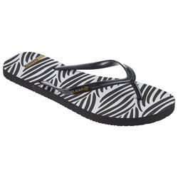 Chanclas De Playa Surf Olaian TO 120 Mujer Negro Blanco