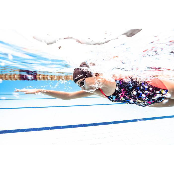 Maillot de bain de natation une pièce fille résistant chlore Lexa rocki corail