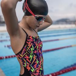 Maillot de bain de natation une pièce fille résistant chlore Lexa storm noir