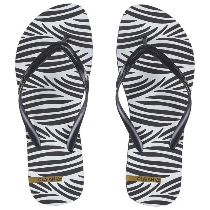 Chanclas De Playa Surf Olaian TO 120 Mujer Negro Blanco