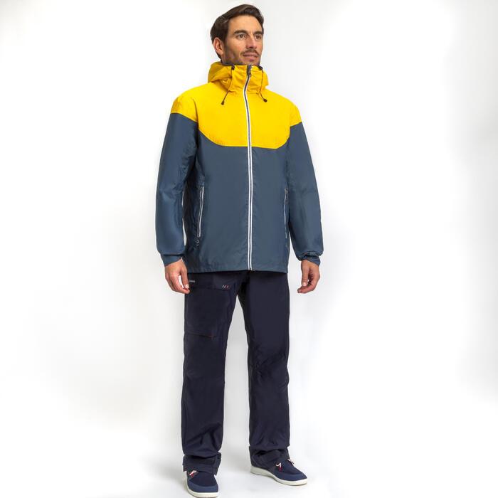 Segeljacke wasserdicht Sailing 100 Herren grau/gelb