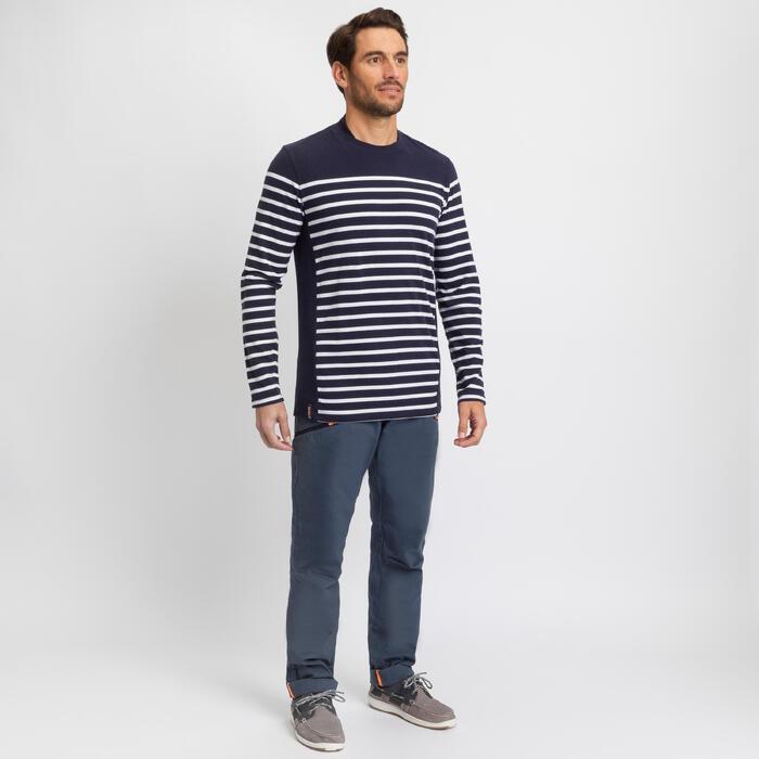 T-shirt manches longues de voile - marinière homme SAILING 100 Navy
