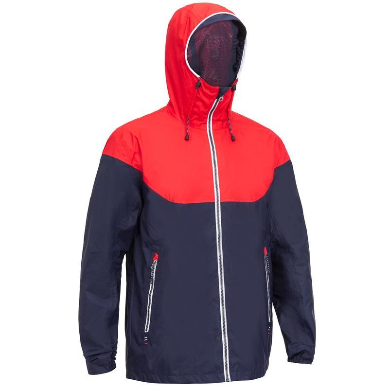Jachetă Impermeabilă Navigație Sailing 100 Albastru-Roșu Bărbați