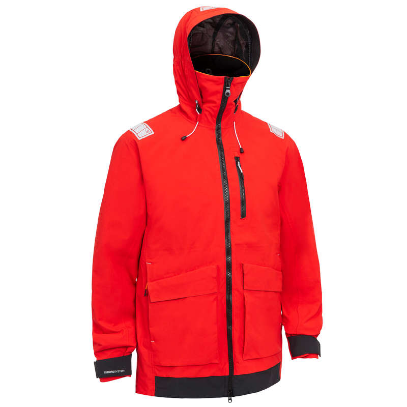 CRUISING RAINY WEATHER MAN CLOTHES Sailing - Men's Sailing Jacket 500 - Red TRIBORD - Sailing Clothing