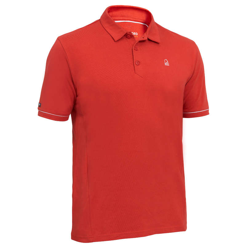 CRUISING WARM WEATHER MAN CLOTHES Sailing - Sailing 100 M SS Polo - Red TRIBORD - Sailing Clothing