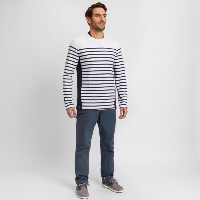T-shirt manches longues - marinière de voile homme SAILING 100 Blanc