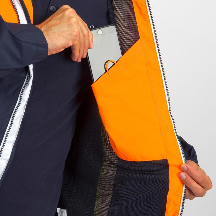 Chaqueta Impermeable Barco Vela Tribord Sailing 100 Hombre Naranja Azul Capucha