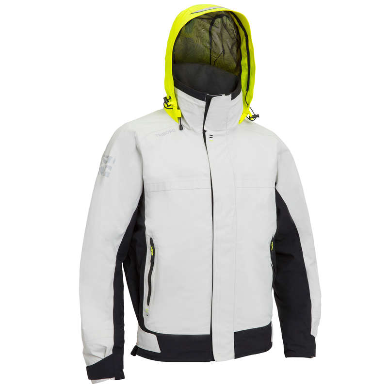 REGATTA RAINY WEATHER MAN CLOTHES Sailing - Race500 Men Anorak Grey Yellow TRIBORD - Sailing Clothing