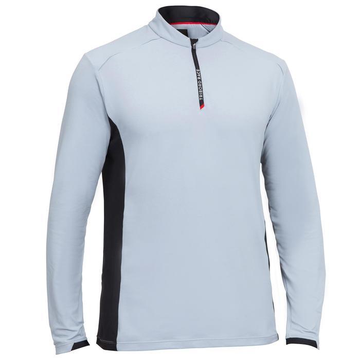 Race men's boat regatta long-sleeved T-shirt light grey
