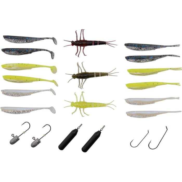 KIT SEÑUELOS FLEXIBLES PESCA DE DEPREDADORES MINI PERCH KIT