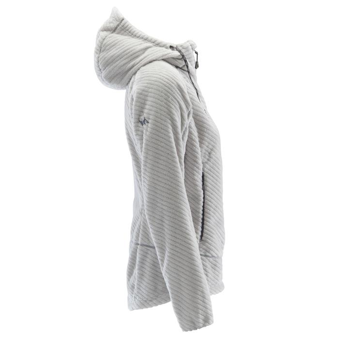 SWEAT CHAUD D'ESCALADE A CAPUCHE FEMME GRIS PALE