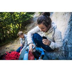Warme dameshoodie voor klimmen lichtgrijs