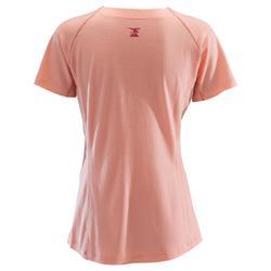 Klim-T-shirt voor dames wol zalmroze