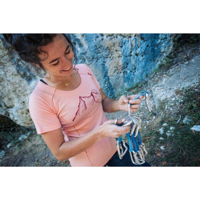 Kletter-T-Shirt Damen Kurzarm Merinowolle Damen rosa lachs