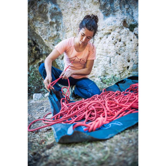 Dames-T-shirt met korte mouwen voor klimmen merinowol zalmroze