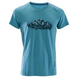 Heren T-shirt met korte mouwen voor klimmen merinowol blauw grijs