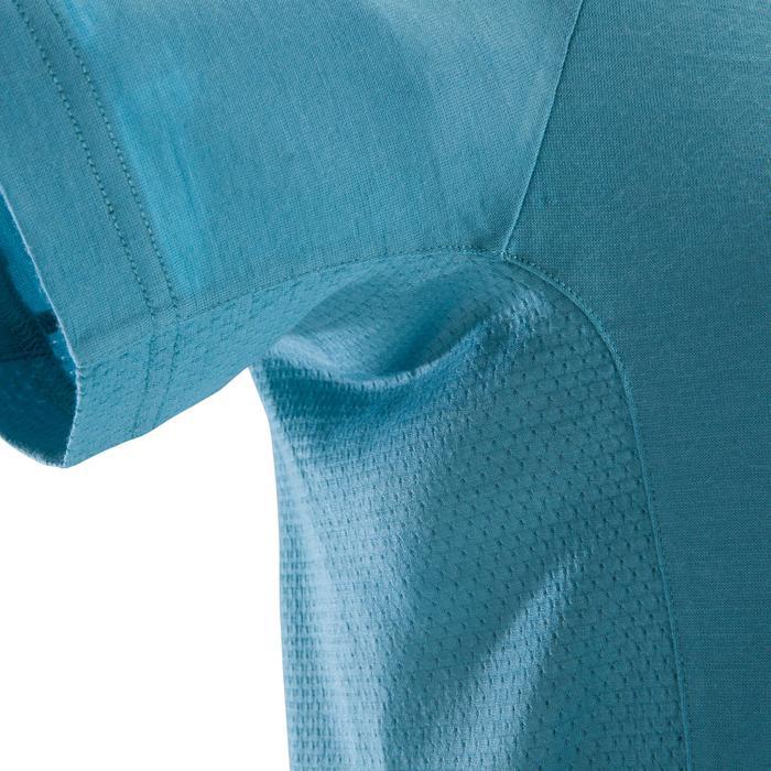 T-Shirt Merinowolle Kurzarm Klettern Herren blau grau
