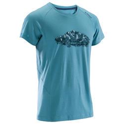 Merino T-shirt met korte mouwen voor klimmen heren grijsblauw