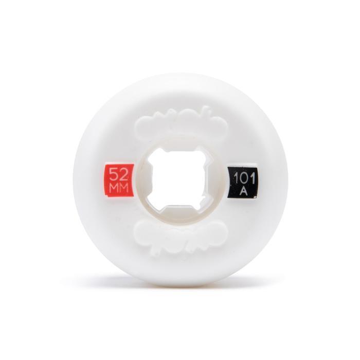 Skateboardwielen 52 mm 101A wit conisch set van 4