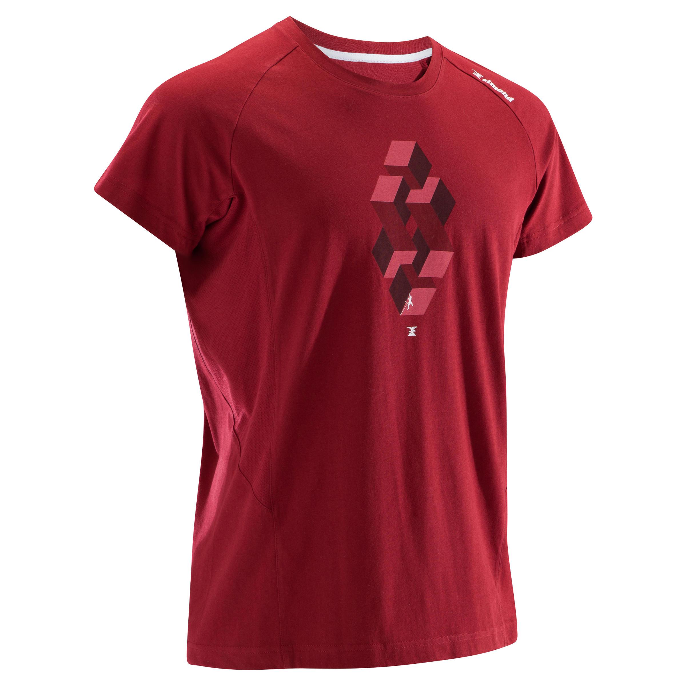 Kletter-T-Shirt kurzarm Komfort Herren bordeauxrot | Sportbekleidung > Sportshirts > Klettershirts | Simond