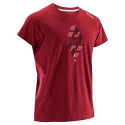 MEN'S SHORT SLEEVE COMFORT CLIMBING T-SHIRT - COLOUR BURGUNDY