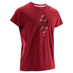 男款舒適攀岩短袖T恤-酒紅色