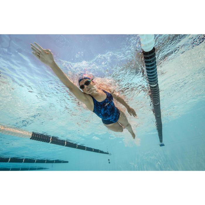Bañador de natación una pieza resistente al cloro mujer Kamiye walo azul
