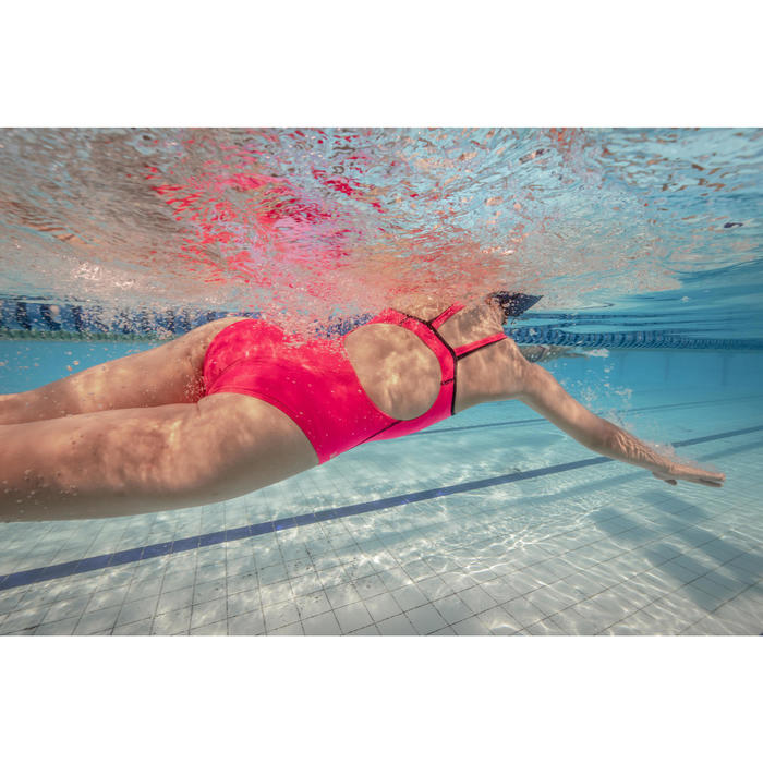 Bañador de natación una pieza mujer Kamiye+ rosa gris