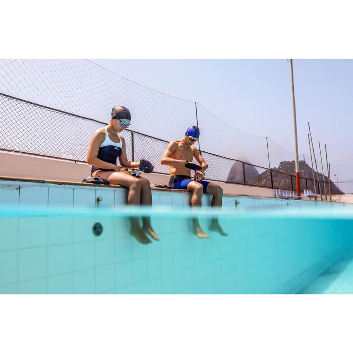Badeanzug Leony chlorresistent Damen blau/weiß