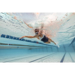 Bañador Natación Piscina Nabaiji Leony Mujer Forma Espalda Y Competición Blanco