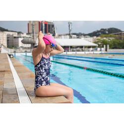 Bañador Natación Piscina Nabaiji Jade Mujer Forma Espalda X Escotado Azul Blanco