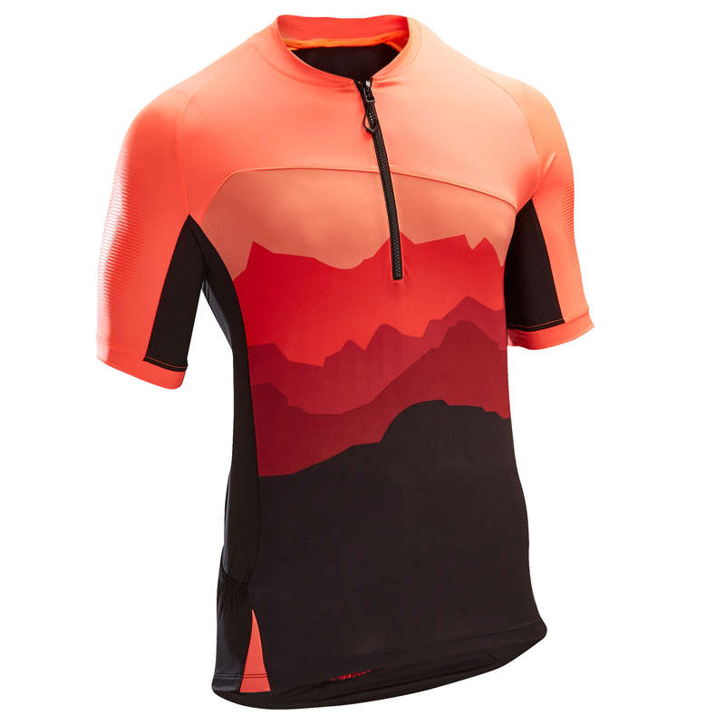 MEN WARM WEATHER ST MTB APPAREL Cycling - ST500 Short Sleeve Mountain Bike Jersey - Red/Black ROCKRIDER - Cycling