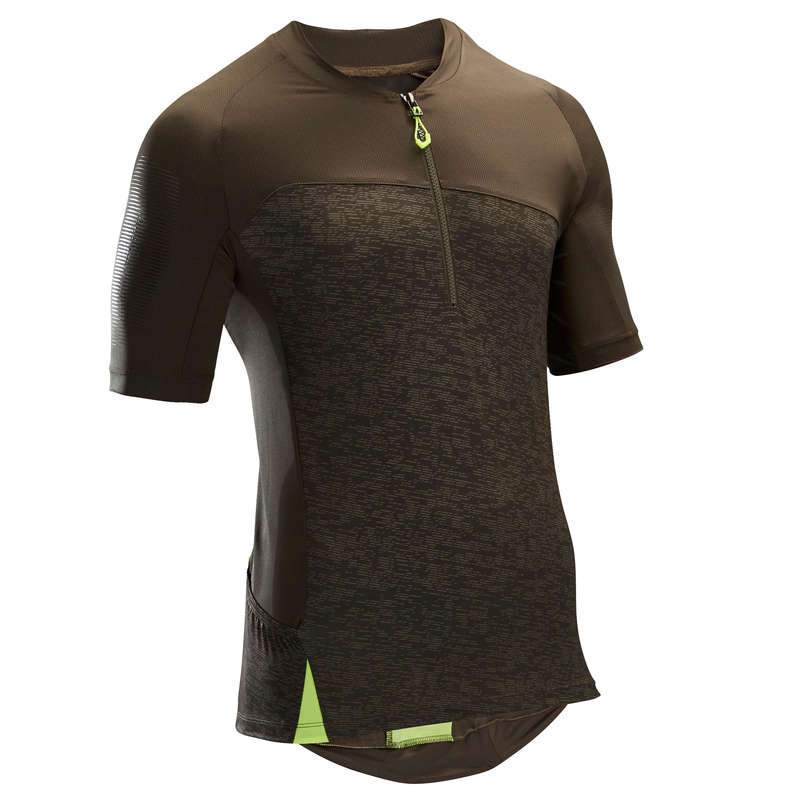MEN WARM WEATHER ST MTB APPAREL Cycling - ST500 Short Sleeve Mountain Bike Jersey - Khaki ROCKRIDER - Cycling