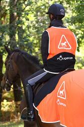 Uitrijdeken ruitersport oranje en zwart - 158413