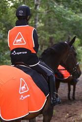Uitrijdeken ruitersport oranje en zwart - 158414