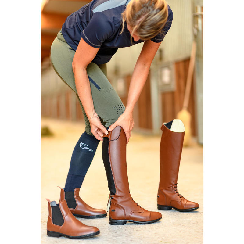 2019 best 50-70%off beautiful in colour - 900 Jump L Adult Leather Horse Riding Boots - Brown