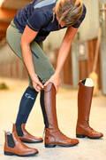 JEZDECKÉ BOTY A DOPLŇKY Jezdectví - KOŽENÉ BOTY 900 JUMP L HNĚDÉ FOUGANZA - Vybavení pro jezdce