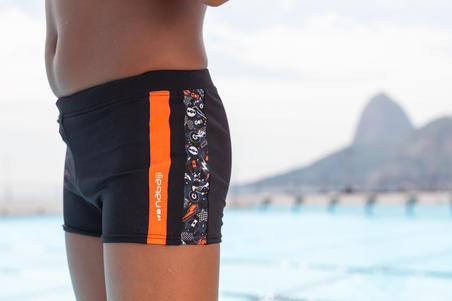 Maillot de bain natation BOXER 500 YOKE ALLWALO noir orange - Homme