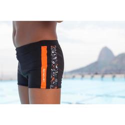 Zwemboxer voor jongens 500 Yoke Allwalo zwart/oranje