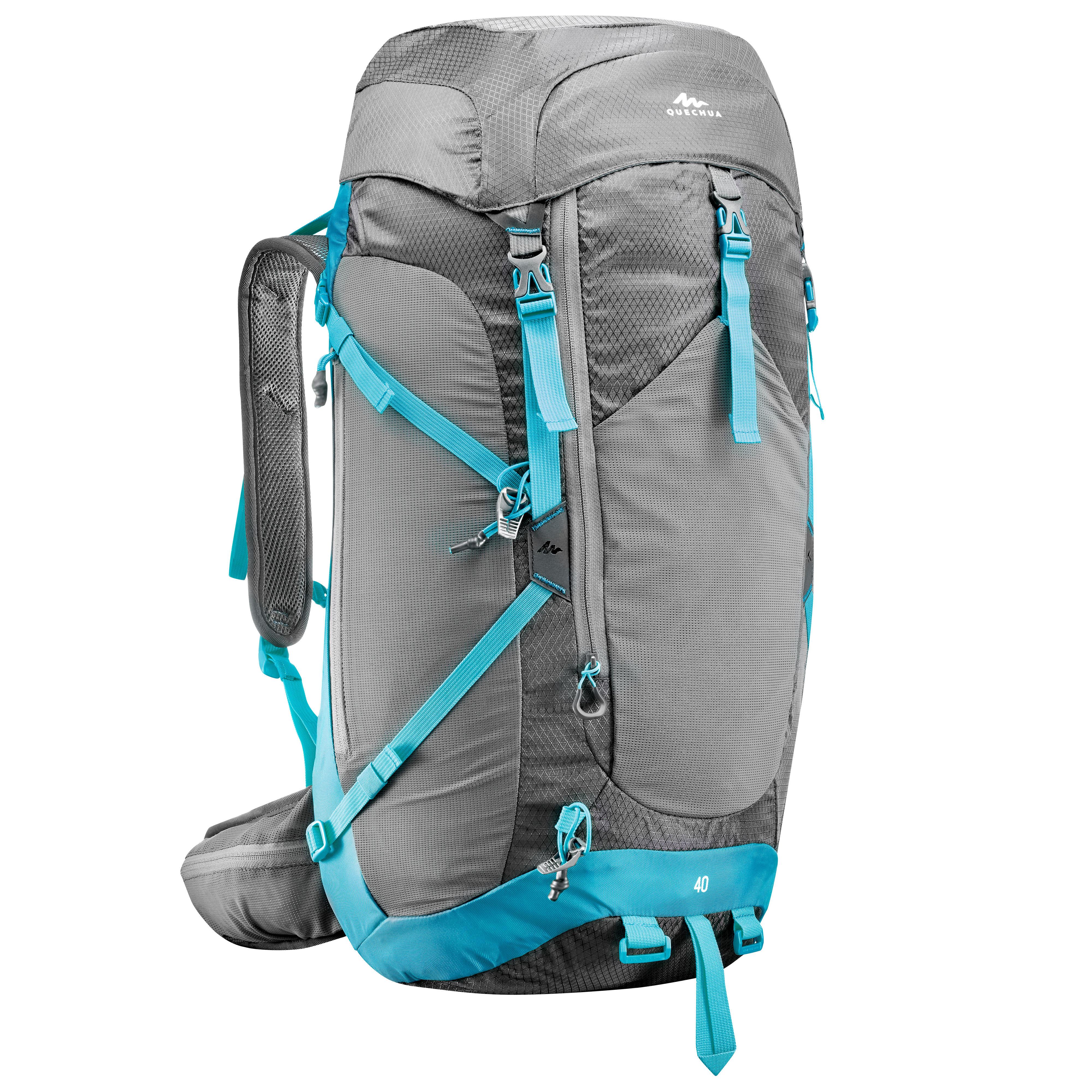 35fe45c69a9 Rugzak voor dames Forclaz Air+ 40 liter grijs-blauw